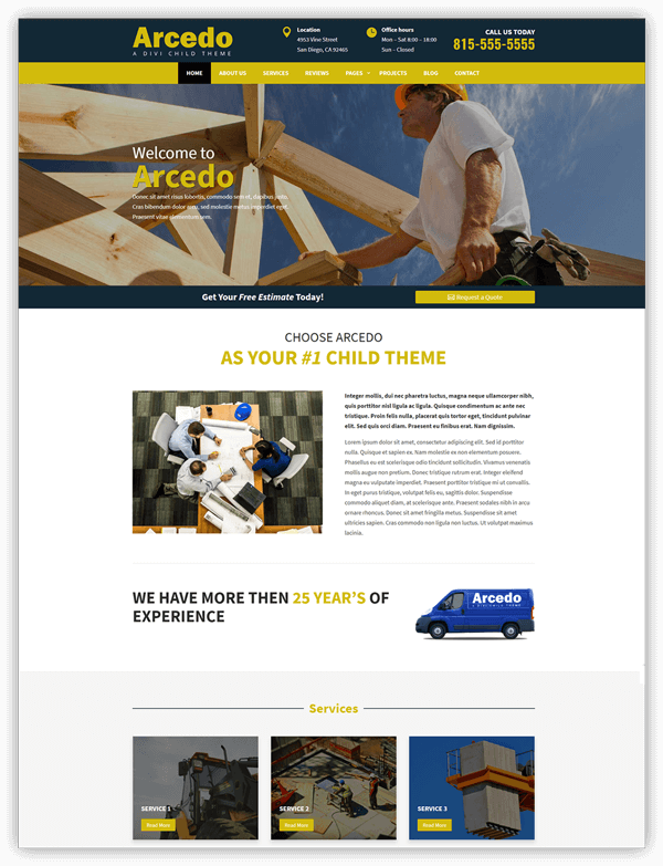 Arcedo divi child theme