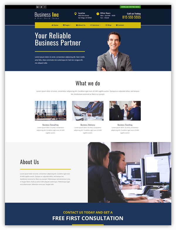 Businessinc divi child theme