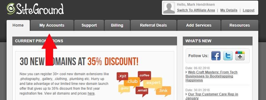 Siteground account tab