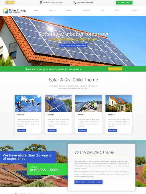 Solar divi child theme