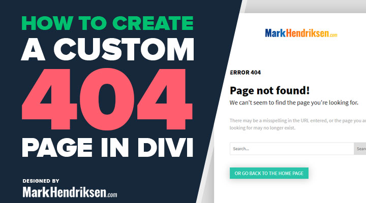 How to create a custom 404 page in Divi