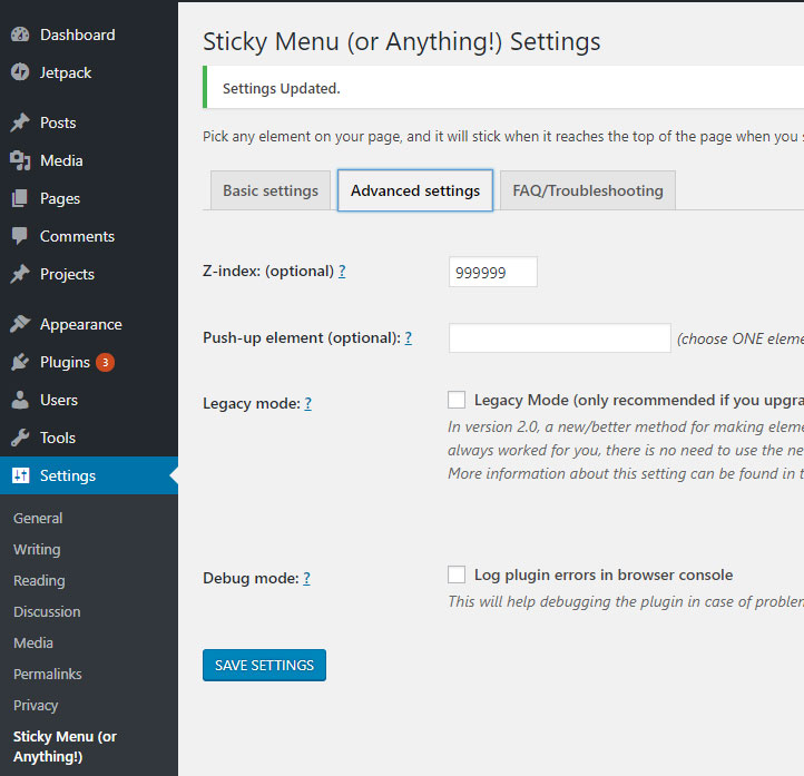 Sticky menu advanced settings