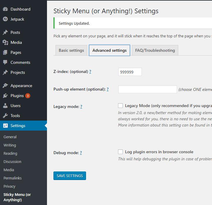 Sticky menu advanced settings