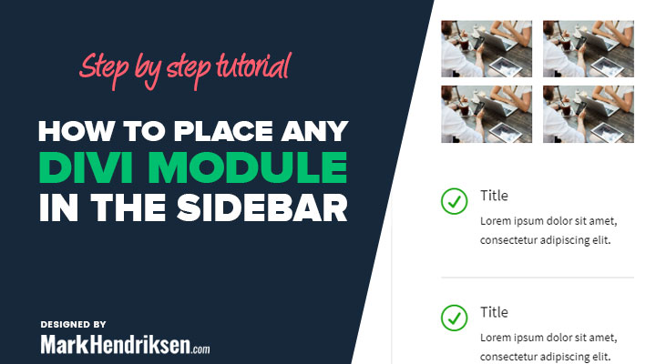 How To Place Any Divi Module In The Sidebar Widgets Area