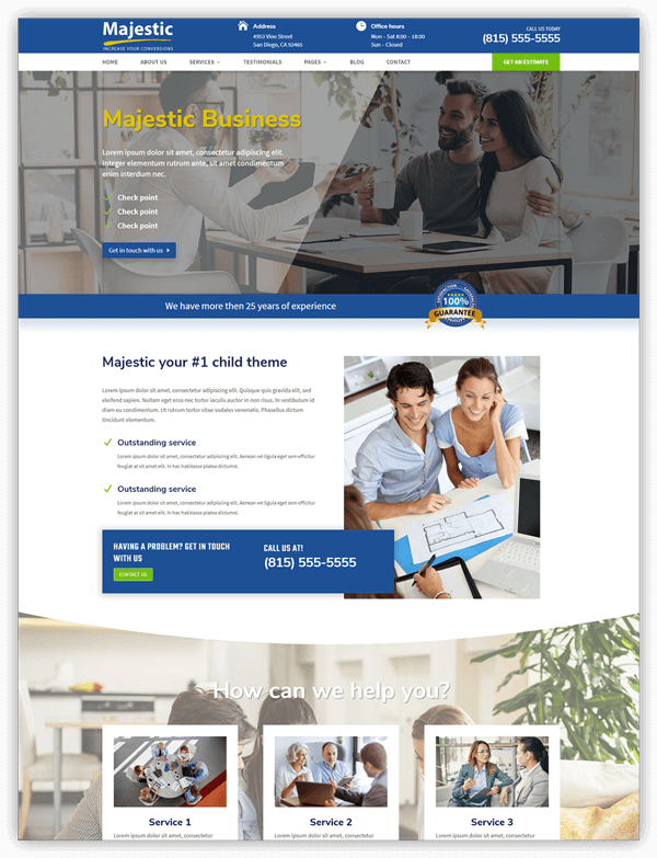 Majestic business divi child theme