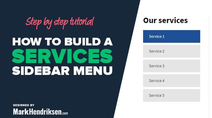 How to build a services sidebar menu