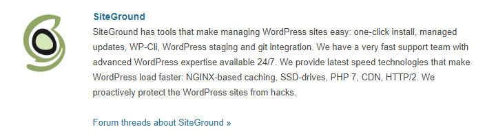 Recommended by WordPress