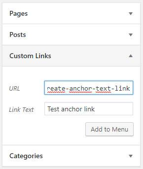 Create a menu anchor link