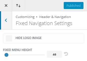 Divi theme logo in fixed navigation bar
