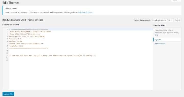 CSS stylesheet Blank Child Theme