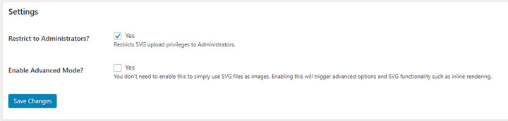 SVG support plugin settings