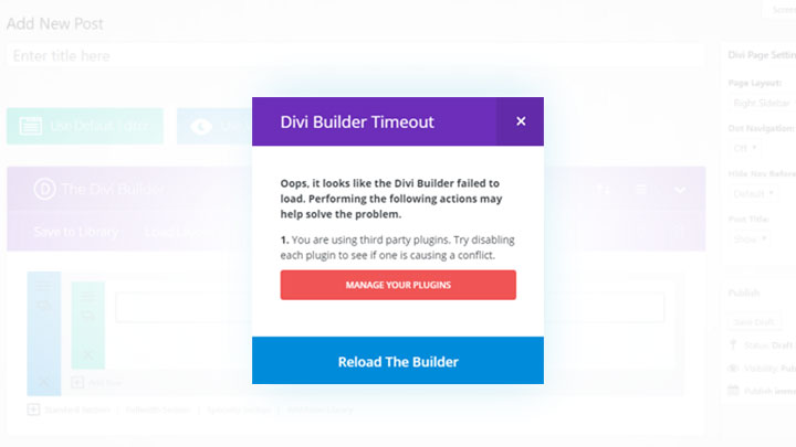 Divi builder timeout error