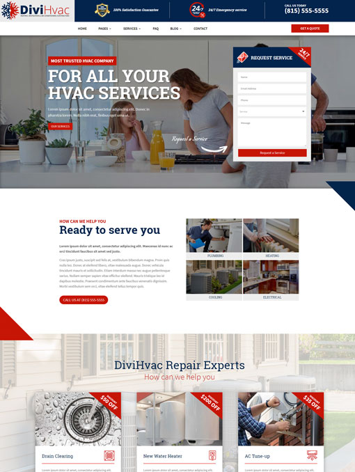 Divi child theme for Hvac companies