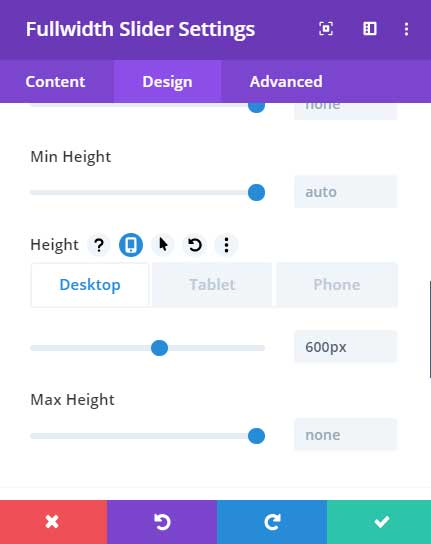 Divi slider height settings