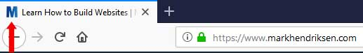 Favicon placement in tab