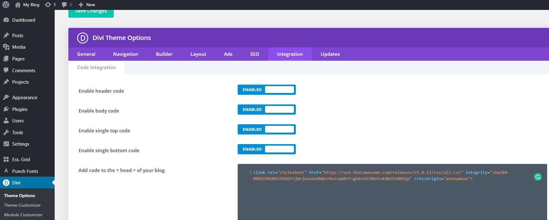 Font awesome code integration