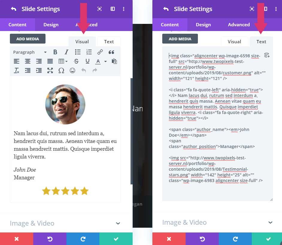 Visual and text tab