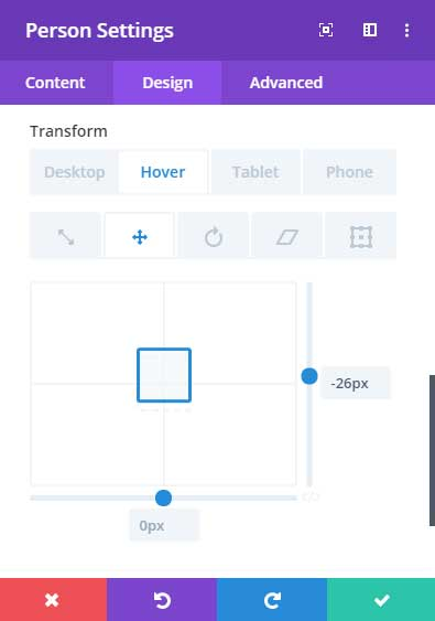 Person module transform settings