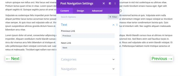 Post navigation settings