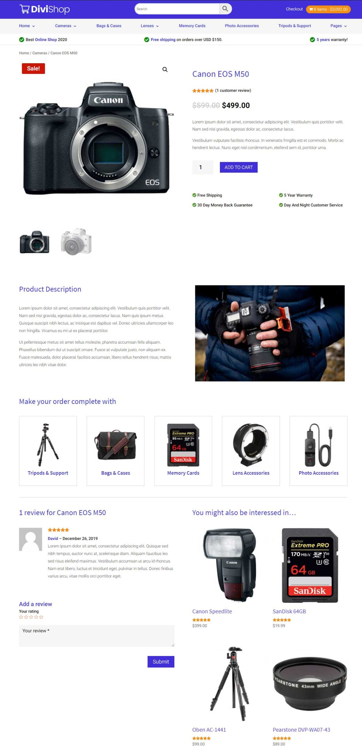 Custom product page