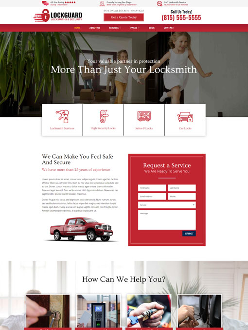 Lockguard Divi child theme for locksmiths
