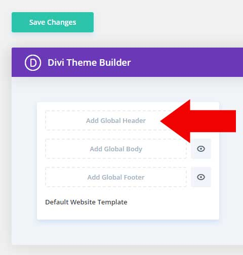 Add the global Divi header