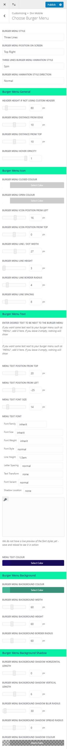 Mobile burger menu