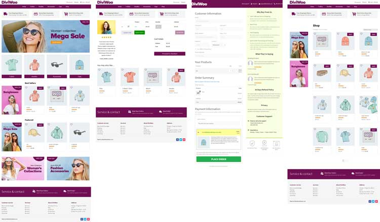Divi and WooCommerce layout pages