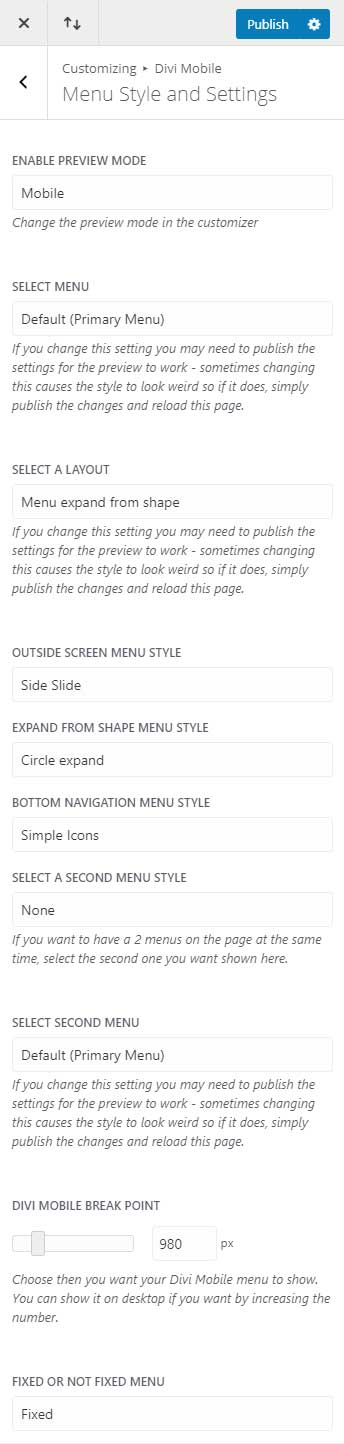 Menu style and settings