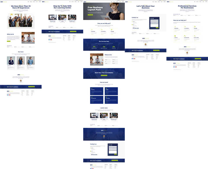 Divi business page layouts