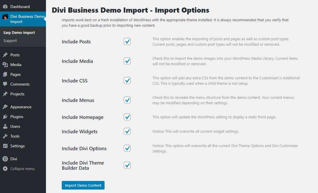 easy demo import