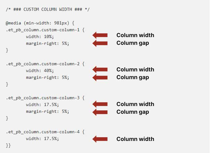 Column width and gap
