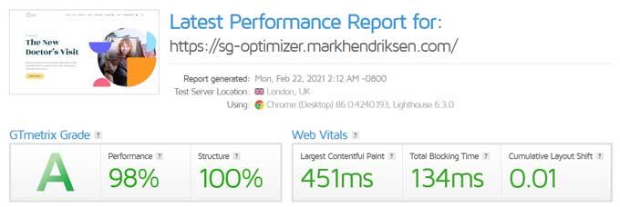 GT Metrix test after- optimization-with SG optimizer