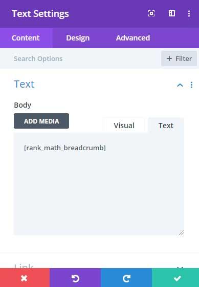 Placing Rank Math breadcrumb shortcode in Divi