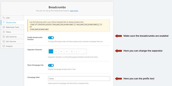 Rank Math breadcrumbs settings