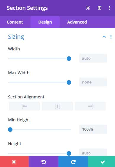 Set the a full height section in Divi