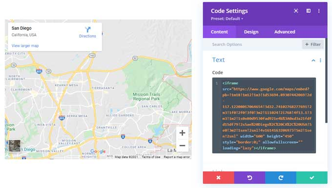 Use the code module to display divi maps