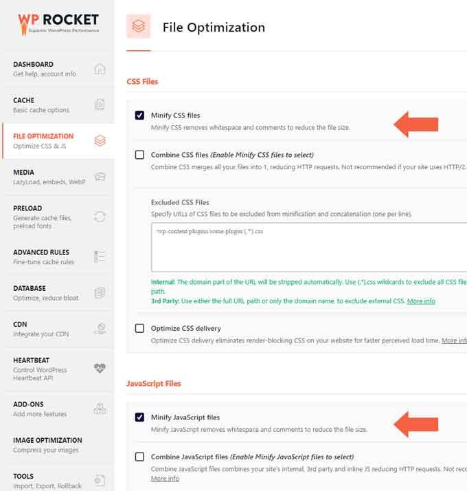 WP rocket file optimization