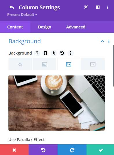 Add a background image to the column