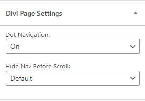 Enable Divi dot navigation