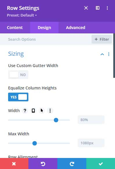 Equalize column height settings