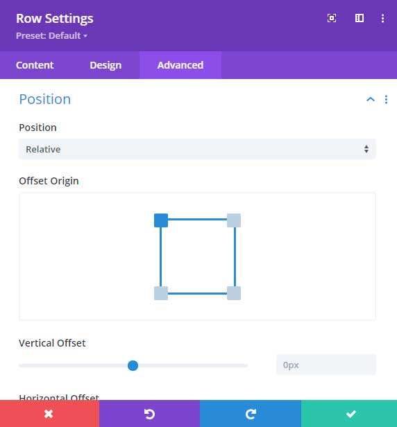 Set row position to relative in Divi
