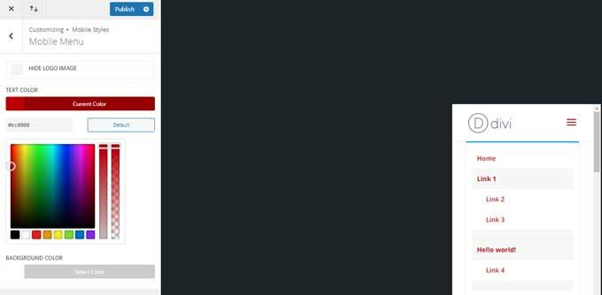 Replace mobile menu text color in Divi